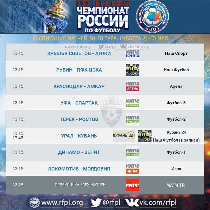 Программа телетрансляций матчей 30-го тура Чемпионата России