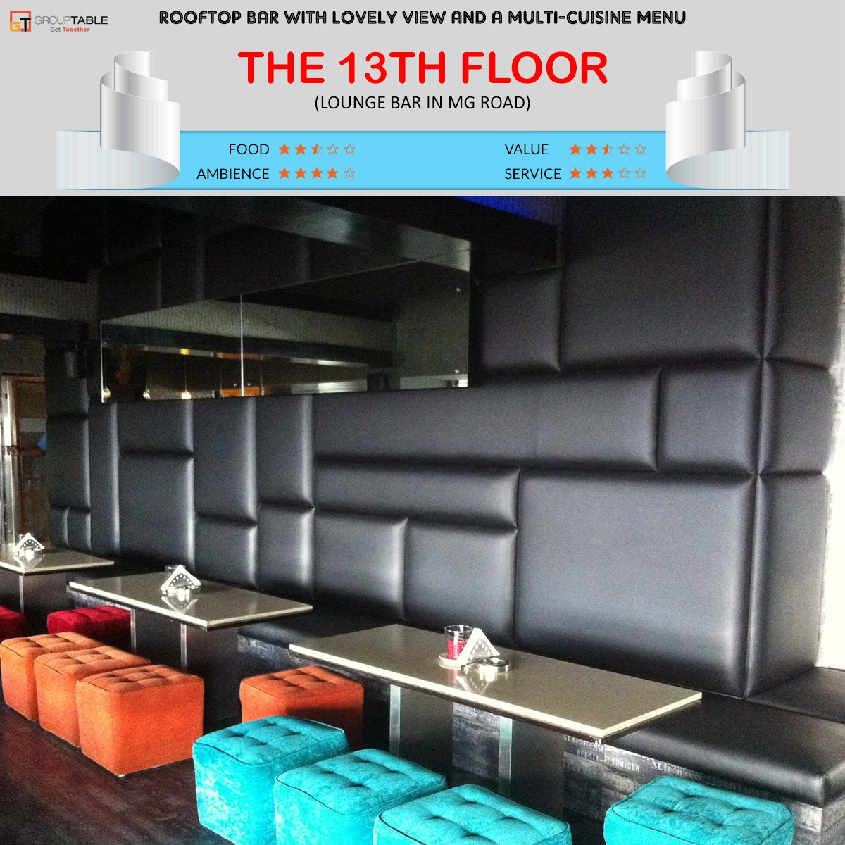 Grouptable twitter for 13th floor mg road bangalore