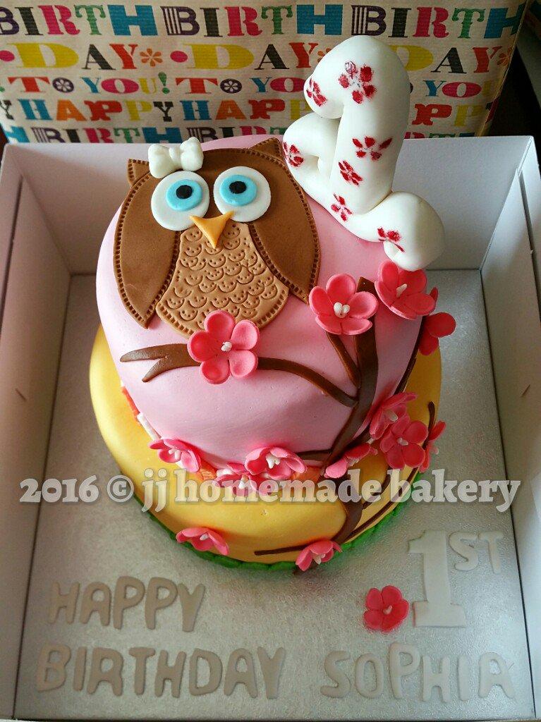 Admirable Jj Bakery On Twitter Baby Owl 1St Birthday Cake Birthdaygirl Funny Birthday Cards Online Hetedamsfinfo