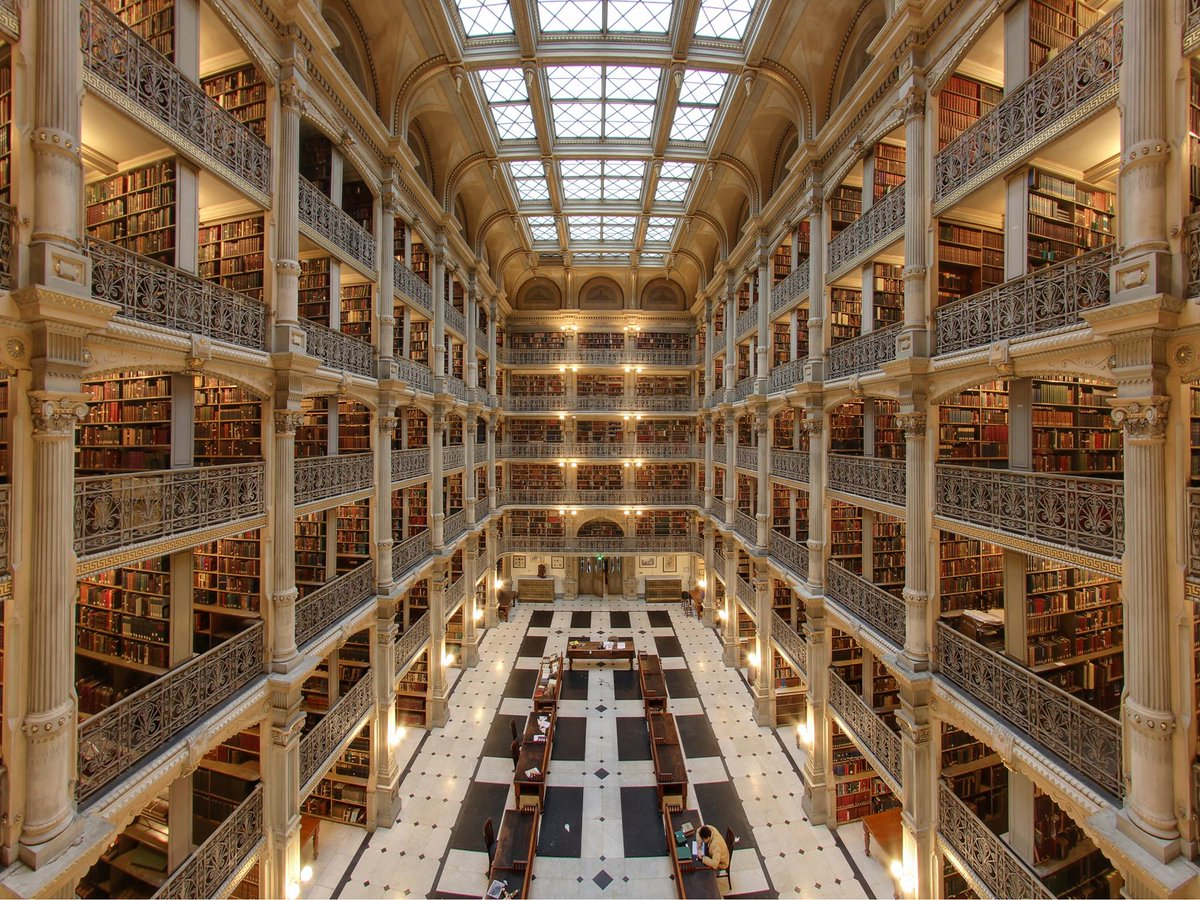 #Architecture Awesome of the Day: George Peabody Library aka 'Cathedral of #books', #Baltimore @i_Author #SamaPlaces