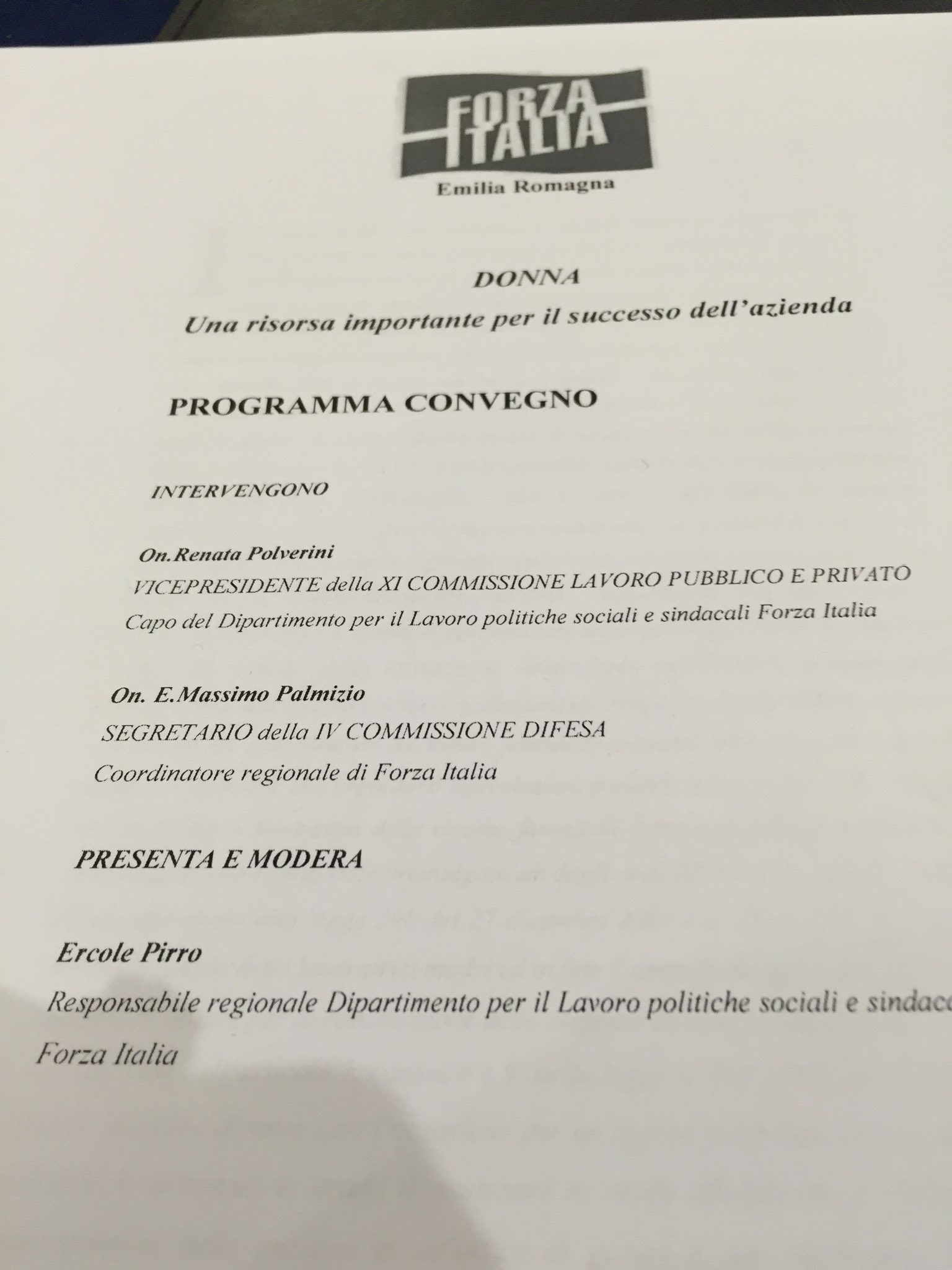 Renata polverini on twitter a bologna con ercole pirro e massimopalmizio per parlare di donne for Deputati forza italia