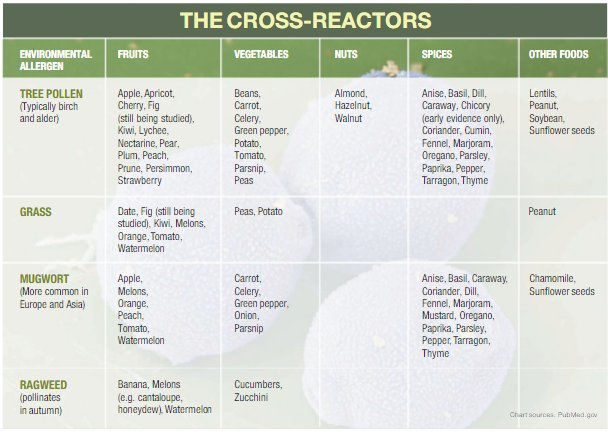 Our popular #OAS allergy chart showing which plants and foods can cross-react. https://t.co/sMdvZUGWLy #foodallergy https://t.co/C4tIVzZ9ev