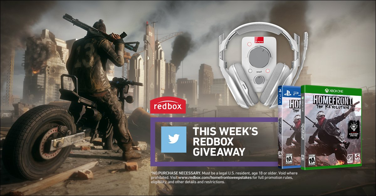 Follow us & post #RedboxHomefrontSweepstakes for a chance to win Homefront: the Revolution & an #AstroGaming headset https://t.co/Lrj5YWJ1DX