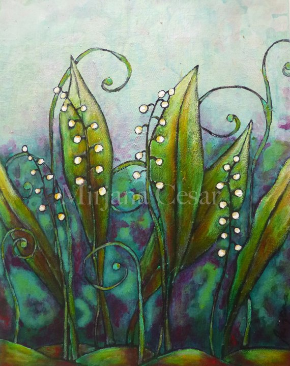 Original mixed media painting on canvas panel, LILY OF the VALLEY https://t.co/b8WrgXrgyz #ooak https://t.co/qg097VWbsg