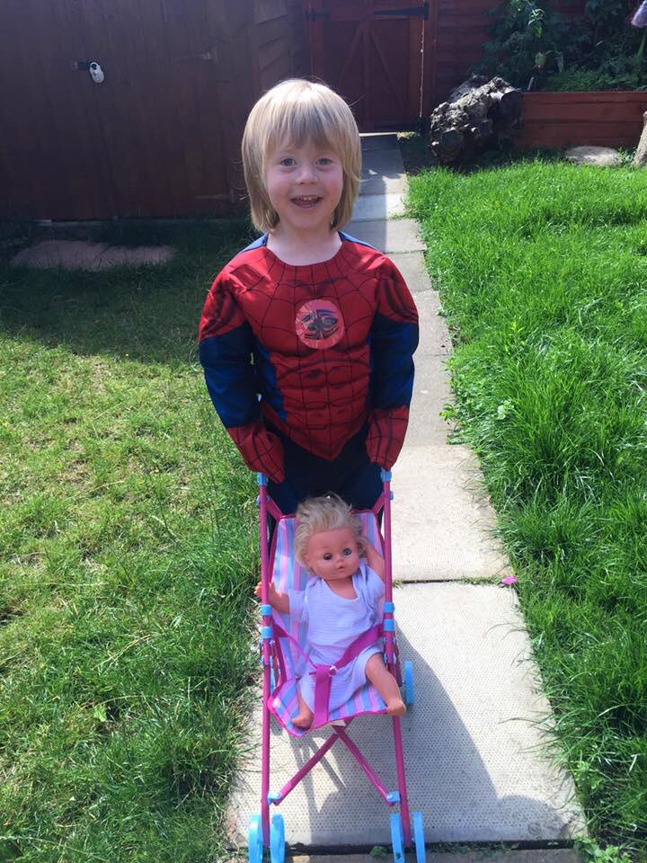 Totally forgotten about this photo. One of my favourites. My boy dressed as spidey pushing his baby #lettoysbetoys https://t.co/NXiFnluXKX
