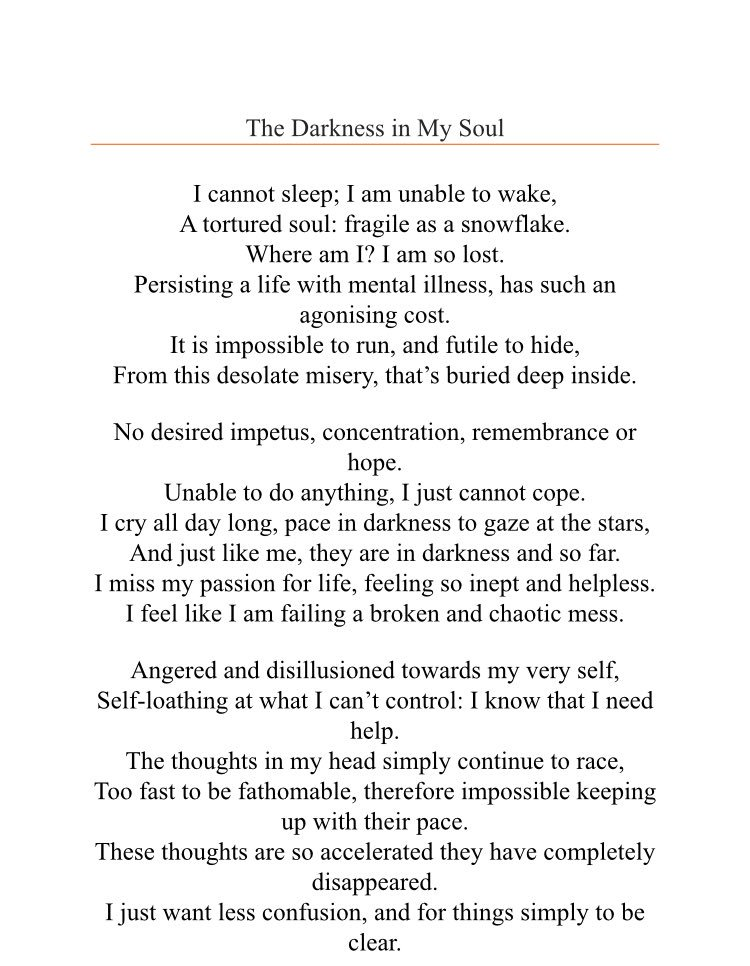 Maria Ohare On Twitter The Darkness In My Soul A Poem I Wrote Re