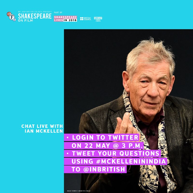 Send your questions on @inBritish tomorrow between 3-4PM & @IanMcKellen will answer them personally.#McKelleninIndia https://t.co/laCm8A9FEP