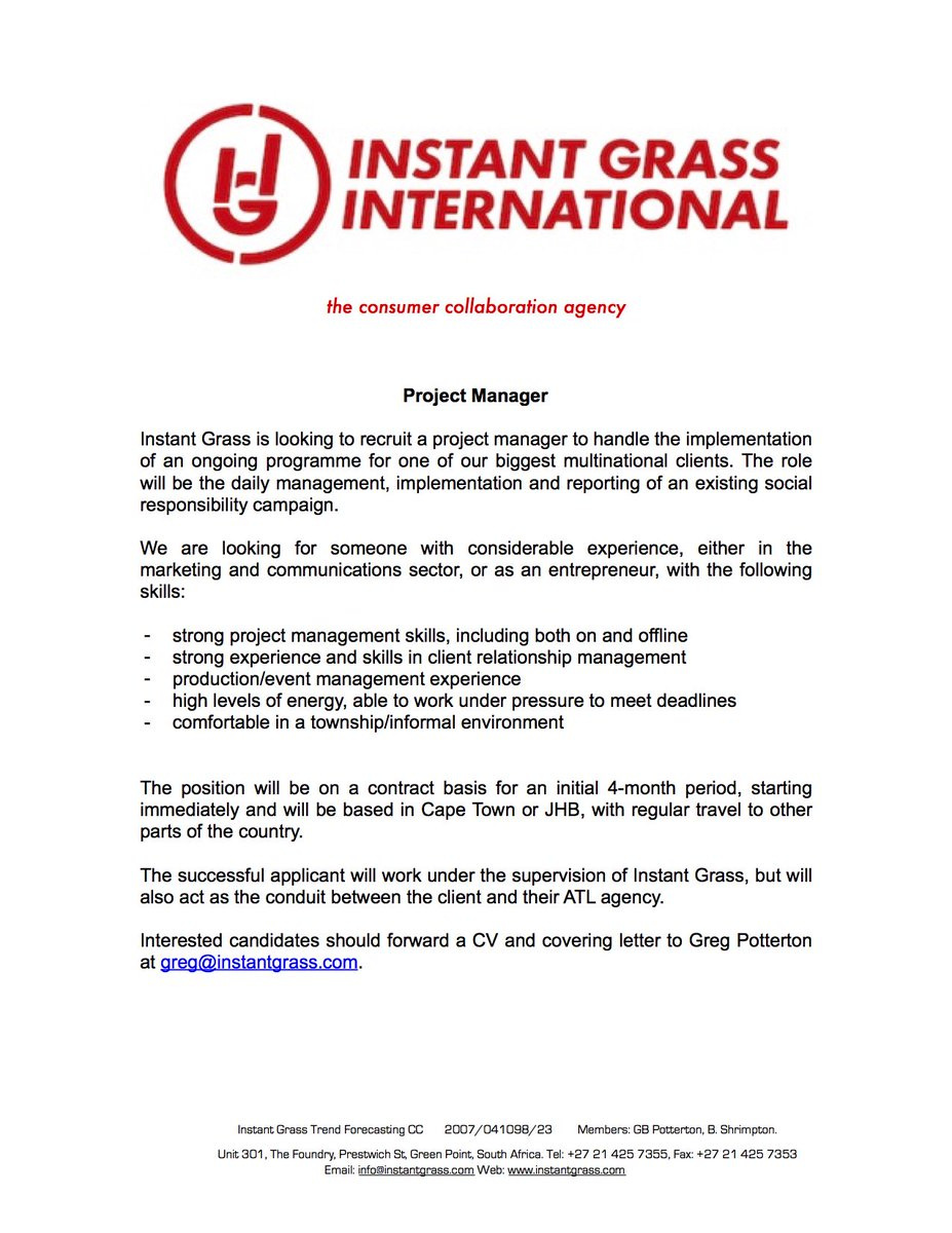 IGI is hiring! Looking for an experienced Project Manager to join our team in JHB or CT: https://t.co/iTXpIobHVO