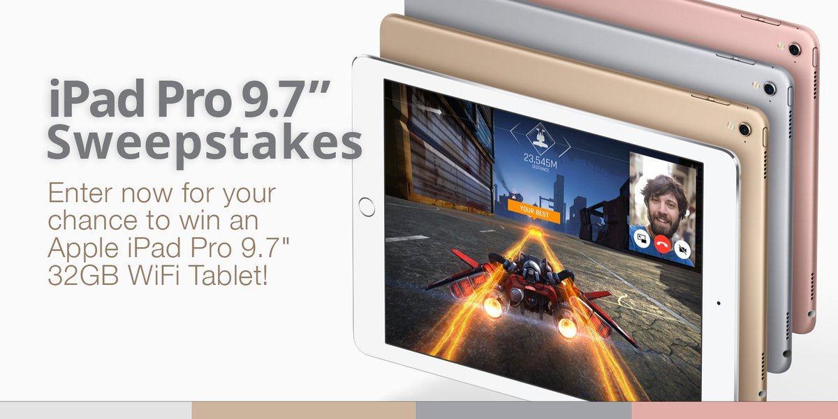 """Enter NOW for your chance to win an Apple iPad Pro 9.7"""" Tablet! RT & tell your friends: https://t.co/3V6c0aPFvN https://t.co/gzdodkbVNv"""