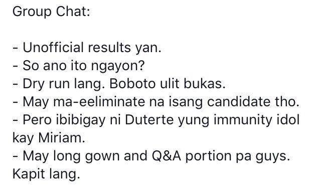 How chat is going among my friends: #HalalanResults #Pilipinas2016 https://t.co/40A5E1H9zg