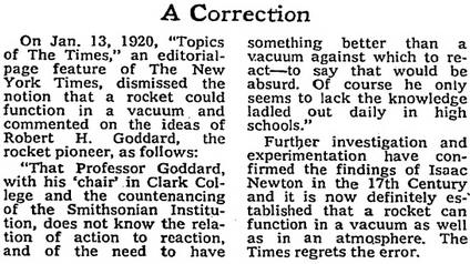 On 17 July 1969, the New York Times issued this correction to its 1920 story saying spaceflight is impossible https://t.co/aqwcMMyHff