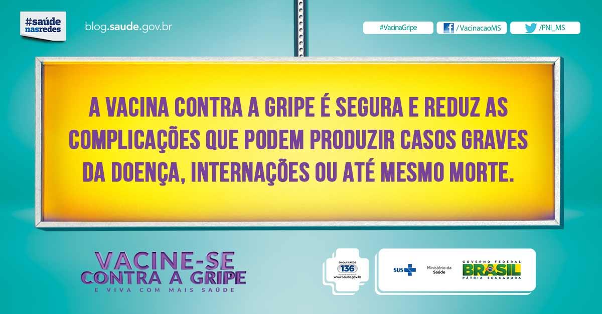 Até 20/05, os públicos prioritários devem se vacinar. #VacinaGripe é segura e gratuita. Procure a unidade de saúde.