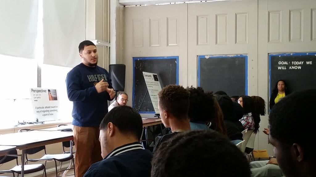 El Centro graduate Ryan Rivera addressing the student body at the DMC Forum.