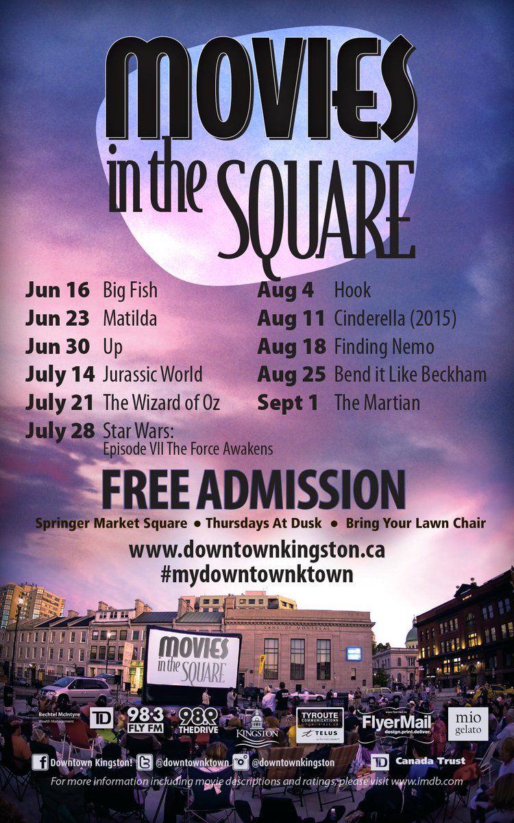 The people have spoken! Here is your 2016 Movies in the Square line up! #mydowntownktown #YGK https://t.co/IknL8tMX5o