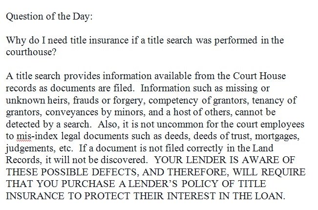 #TitleInsurance #TitleSearch #CourtHouse #Deeds #DeedsOfTrust #Mortgages #Judgements #Forgery #Grantors #Tenancypic.twitter.com/nAjZxn5qSu