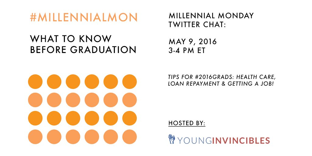 Join us for #MillennialMon NOW to learn some tips for #2016Grads—health care, loan repayment, and getting a job! https://t.co/i4dG0FHwsr