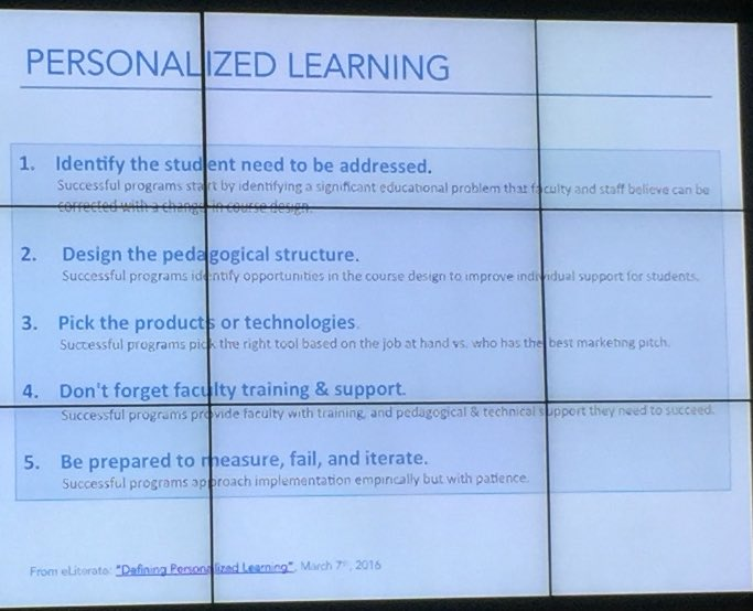 via @KavuBob & see @mfeldstein67 & @PhilOnEdTech re: personalized learning is practice not a product https://t.co/KUJ7jFkbdP | for #OU_LMS16