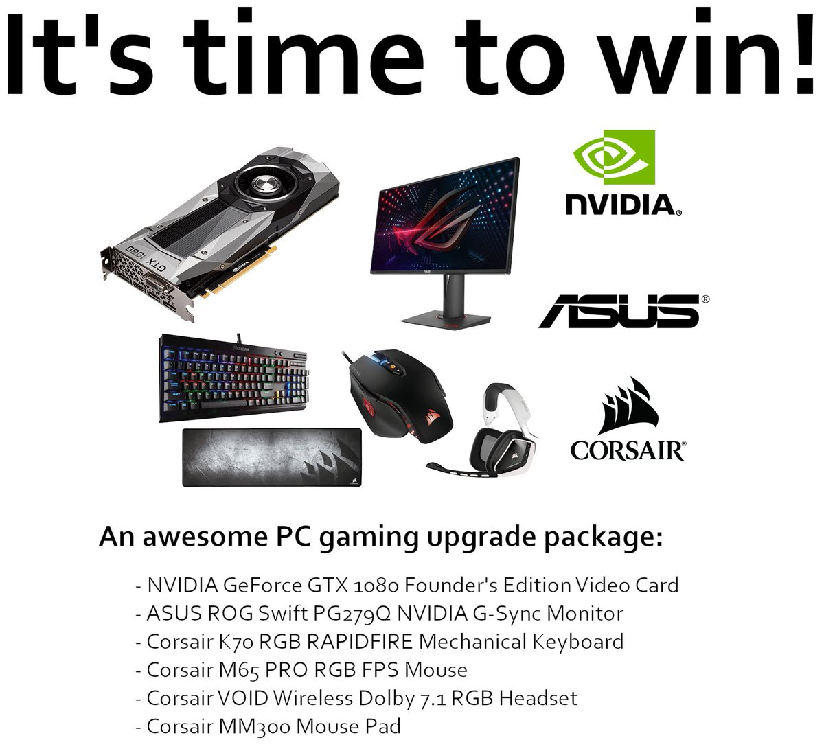 Giveaway: @NVIDIA GeForce GTX 1080 FE Upgrade Package! CC: @Corsair @ASUS (Global Entry!) https://t.co/8DeFcpN0WK