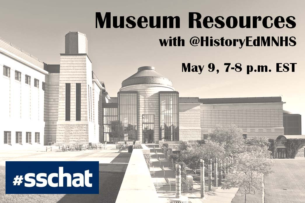 I'm going to help host #sschat about museums & Social Studies ed tonight from 5-6 with the amazing @jessellison. https://t.co/O6TsYhndL8