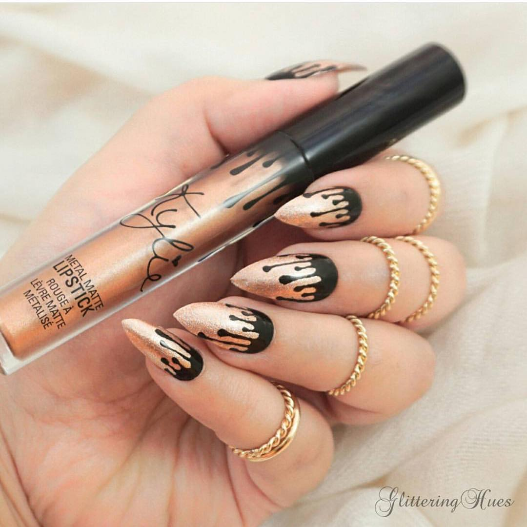 Kylie cosmetics on twitter cool nail art by - Nageldesign beige gold ...