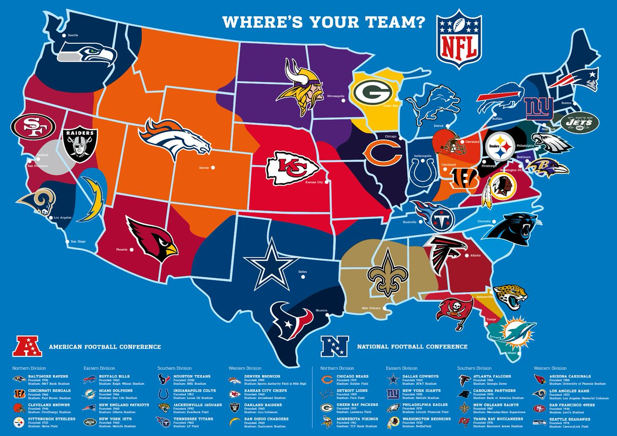 Map Of Usa Nfl Teams Map