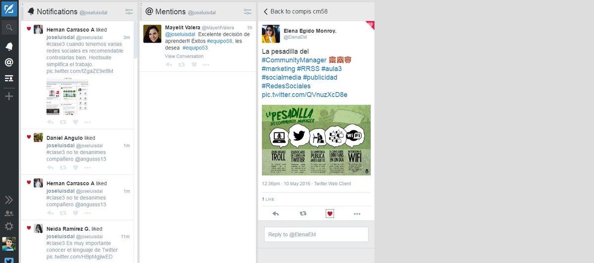 #clase3 TweetDeck es otra buena herramienta que personaliza nuestro escritorio notificaciones listas o likes https://t.co/zWHfqjdkeU