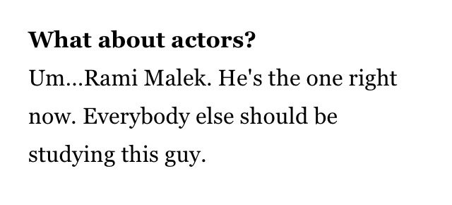 .@RobertDowneyJr on @ItsRamiMalek being his favourite actor at the moment https://t.co/6SnA6UQsOg