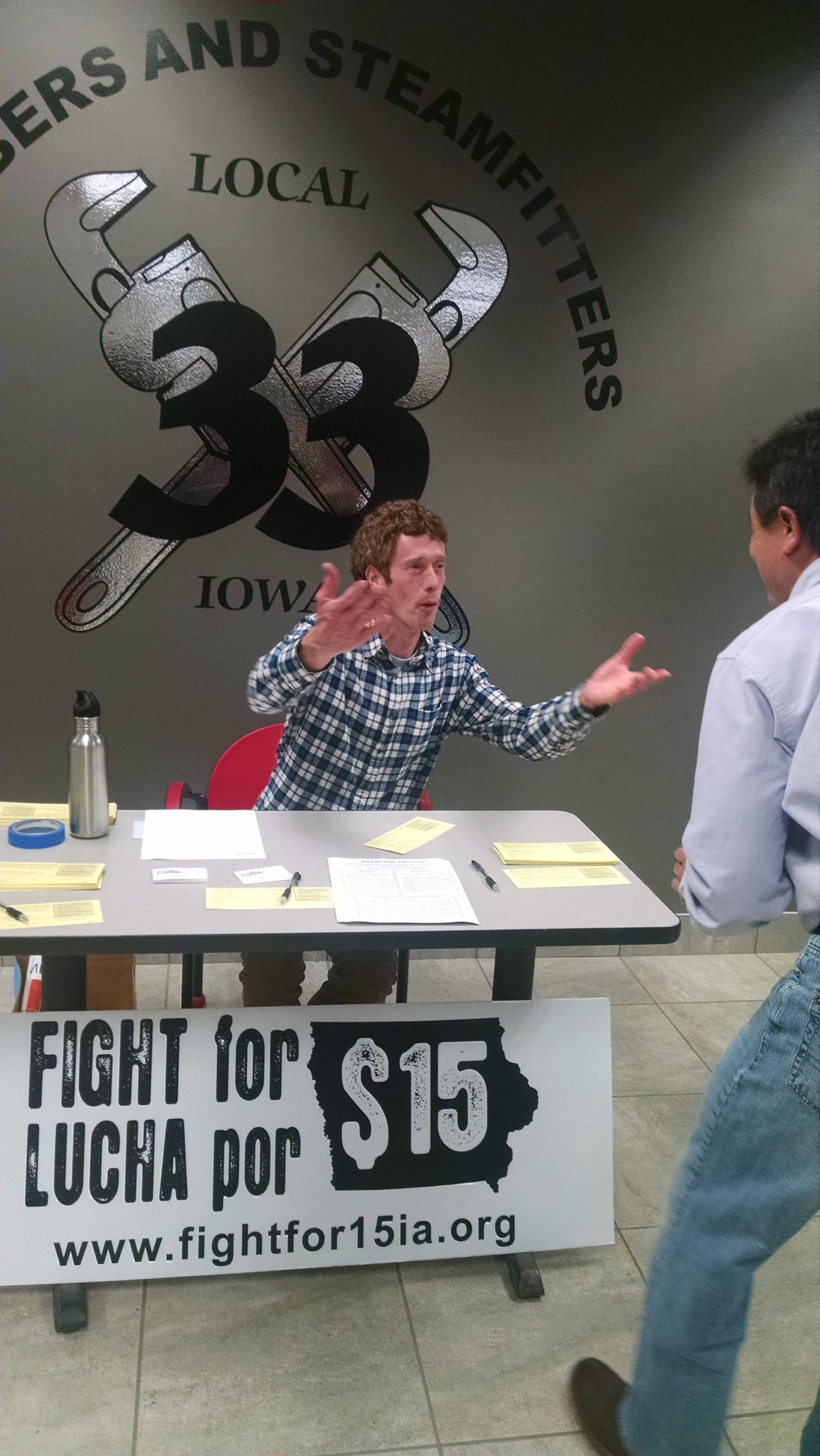 This is how Matthew reacts to the current #Iowa min. wage. We need $15/hr! TAKE ACTION: https://t.co/QRXdzZpabK https://t.co/bSSvTiQDj7