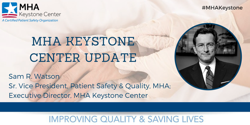 Our very own, @samrwatson Sr. VP of #PatientSafety & Quality takes the stage to provide a #MHAKeystone update! https://t.co/zV31VuBGFM