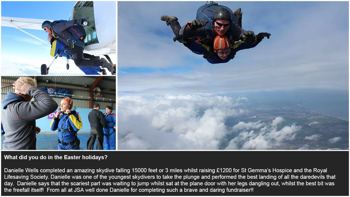 What did you do over Easter? Danielle Wels completed a skydive falling 3 miles & raising £1200 for charity! #Proud