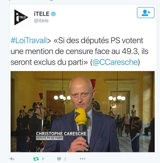 Apparemment, @itele n'assume pas son tweet sur la gestion de la #démocratie au PS. Mais on a une capture d'ecran. https://t.co/pD67bbjvrO