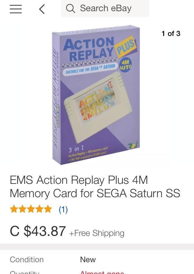 Action Replay 4M Plus Sega Saturn. Source · 8:01 AM - 10 May 2016