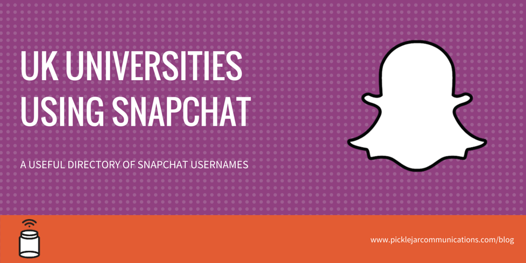 I put together a useful directory of UK universities on #Snapchat for @picklejar https://t.co/zplri5JreI #casesmc https://t.co/nXX0WTl0vh