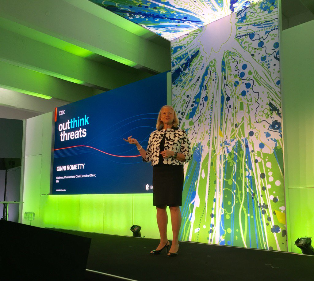 "Ginni Rometty @ #ibmsecuritysummit ""The changing nature of #cybercrime requires Cognitive Security"" @IBM @IBMWatson https://t.co/UjtSSojgZh"