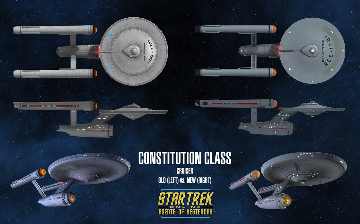 Side-by-side of the old Connie with then new model/ material I made for @trekonlinegame Agents of Yesterday! https://t.co/169E6Gli1O