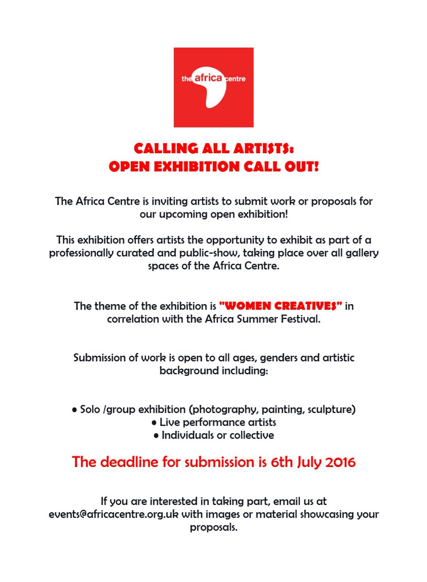[Call for Artists] @TheAfricaCentre is looking for artists for their Africa Summer Festival Exhibition https://t.co/s2Iw2WRKSe