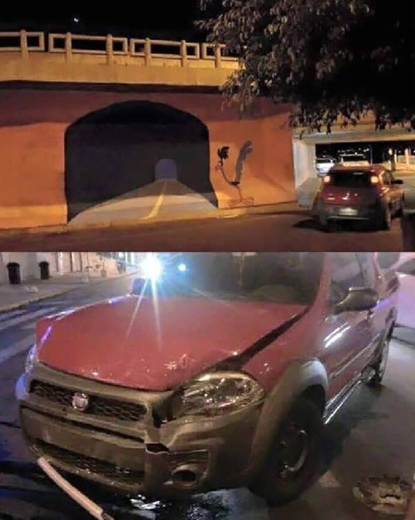 Also, some graffiti artist pulled a road runner and painted this bridge, and some poor driver actually fell for it. https://t.co/sicVqKL0sm