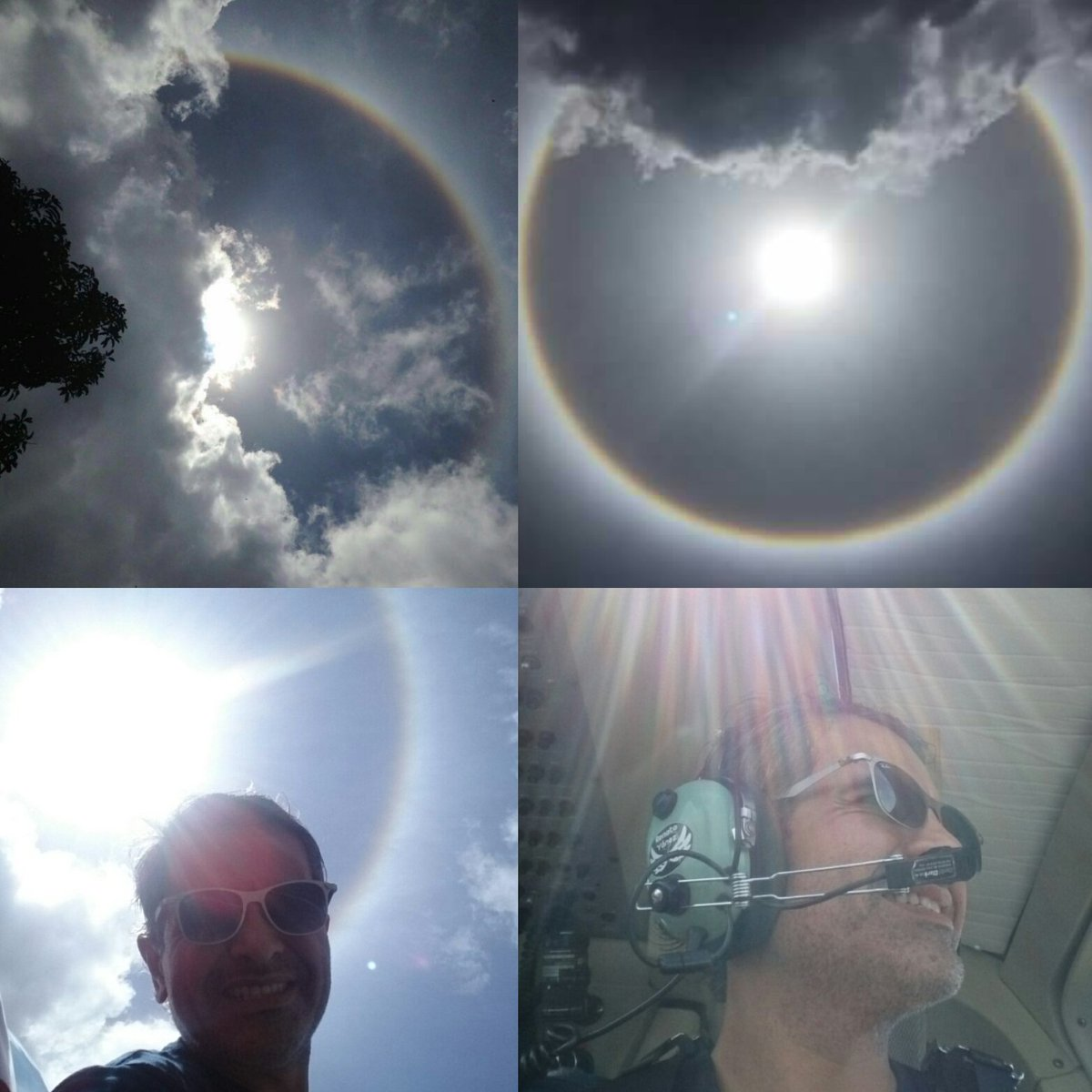 Caracas 1pm. Eso se llama Halo Solar un fenómeno óptico con forma de anillo y centro en el Sol. Bendita Caracas. https://t.co/4hv38jI7Af