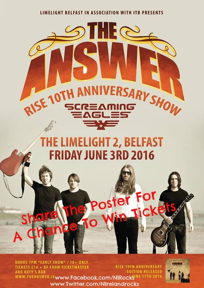 About 24 hrs left to enter the competition to win tickets to see @theanswerrocks and @screagle83 in @LimelightNI https://t.co/tLLblsbW6v