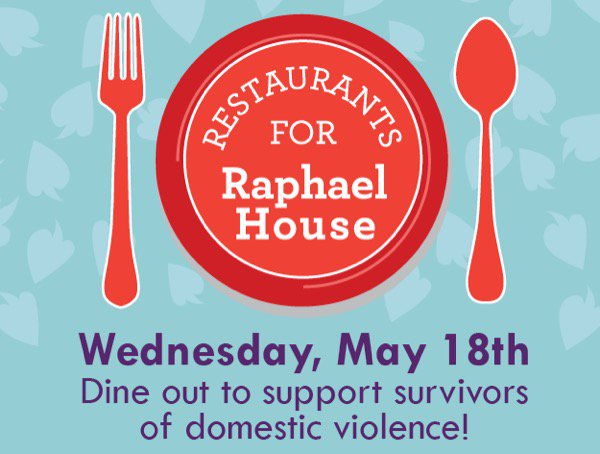 Dine out to support survivors of domestic violence w/ @RaphaelHouse on May 18! --> https://t.co/DjUqcCsYt1  https://t.co/h90Zgkdw1b
