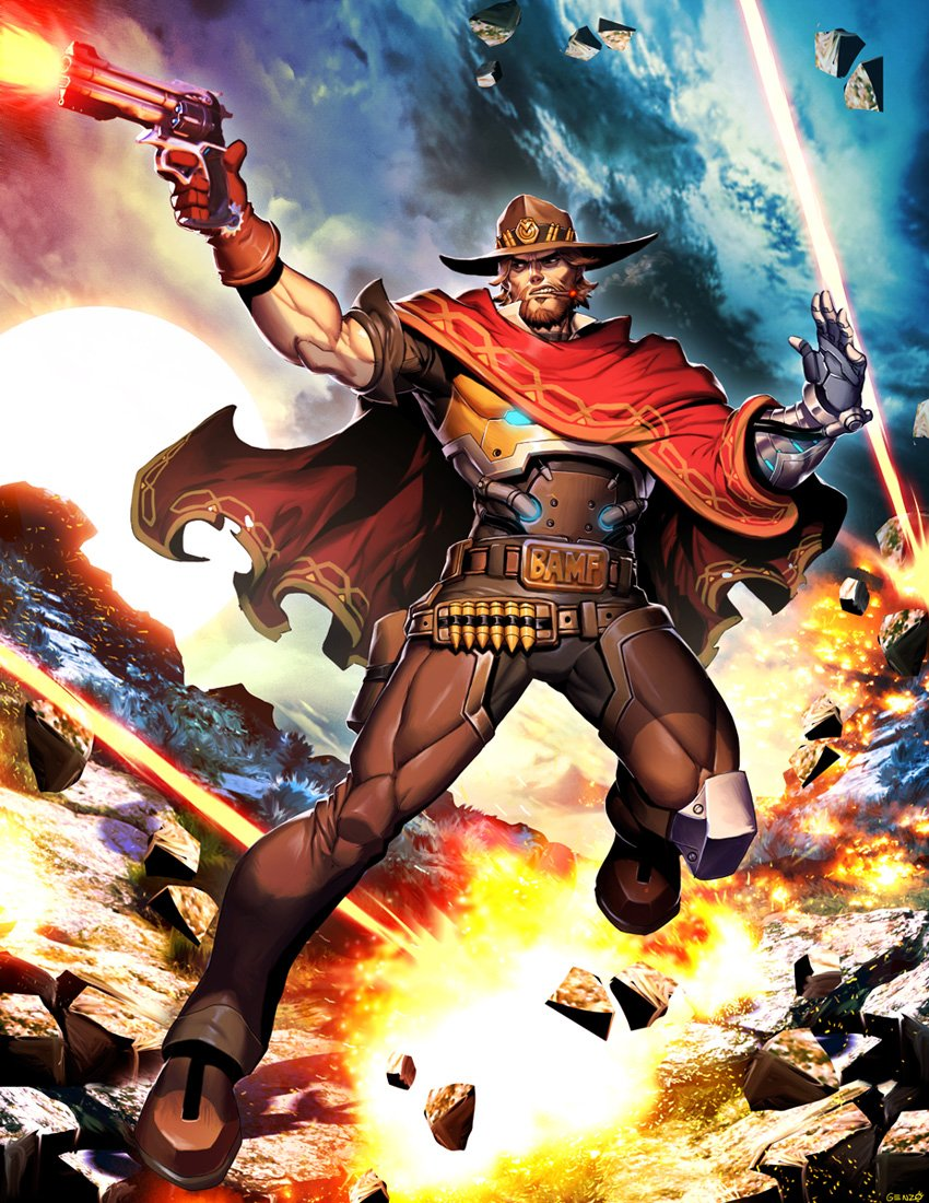 """Celebrate """"21 Days of Overwatch"""" with @DeviantArt!   Day 9 - MCCREE by GENZOMAN:"""