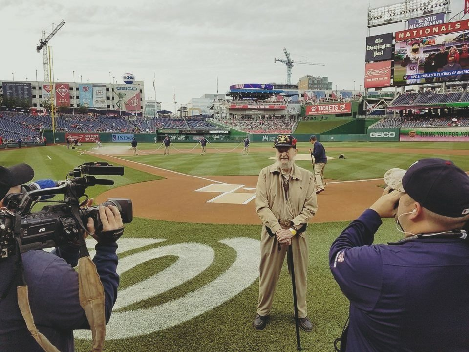 Oldest living Navy Frogman Bill Dawson honored at @Nationals home game this evening. #Natitude #NavySeal