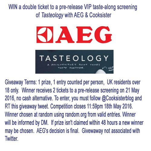 #WIN tix to @aeg_uk's Tasteology film! Follow @cooksisterblog & RT. T&C: https://t.co/C3P0IVDomF #taketastefurther https://t.co/T9LomMjctL