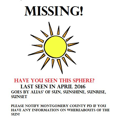 photo of sun asking for help finding it