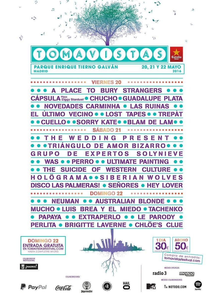 Festival Tomavistas 2016 cartel completo
