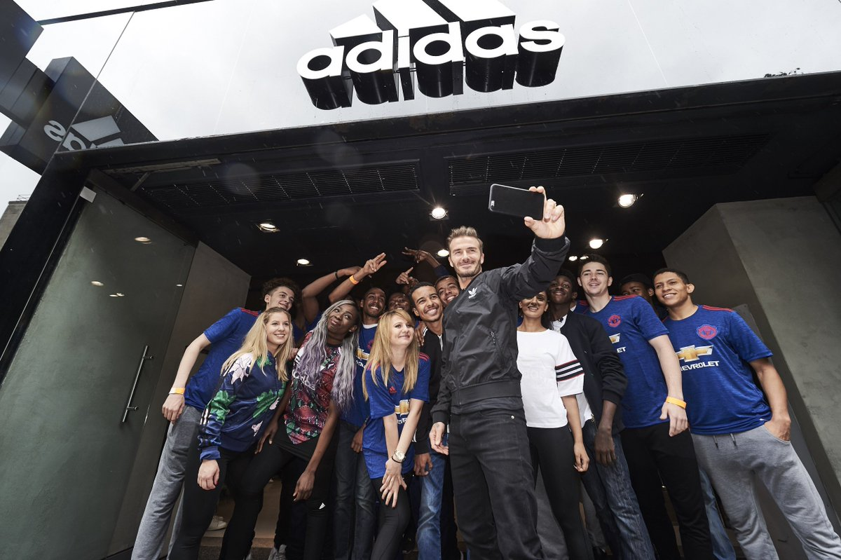 The King at his court. David Beckham opens the new Oxford Street store.