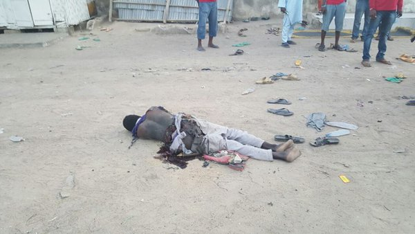 The suicide bomber blew himself as troops intercepted him