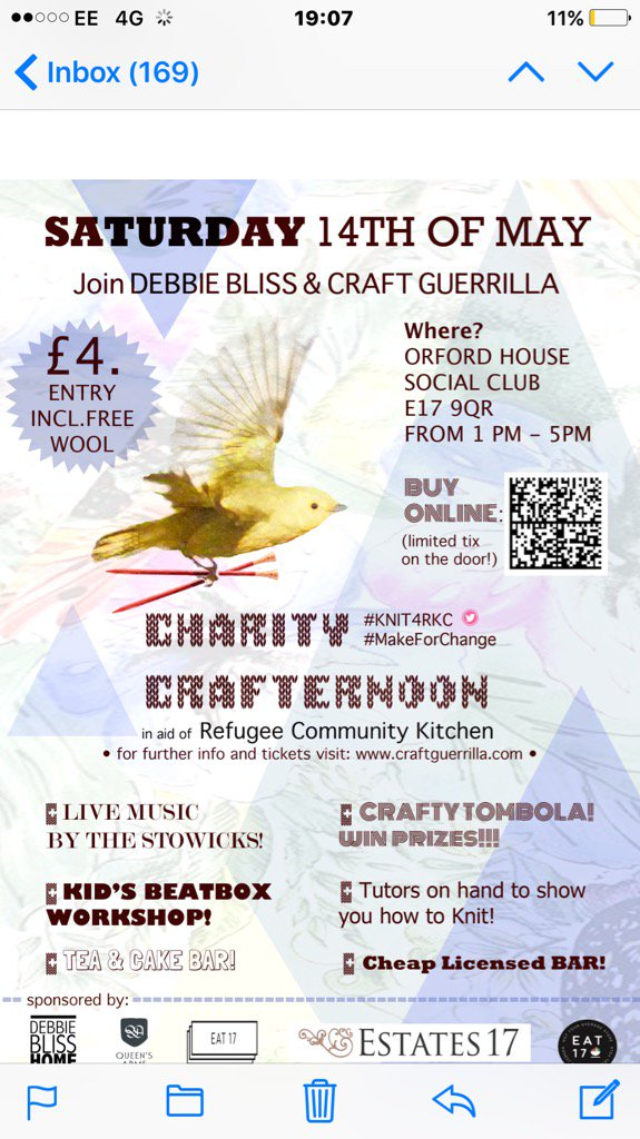 Come to our Crafternoon this Sat.to raise money for @RefugeeCKitchen .Live music ,beatboxing, tea,cake and knitting! https://t.co/aRlC0TiPws