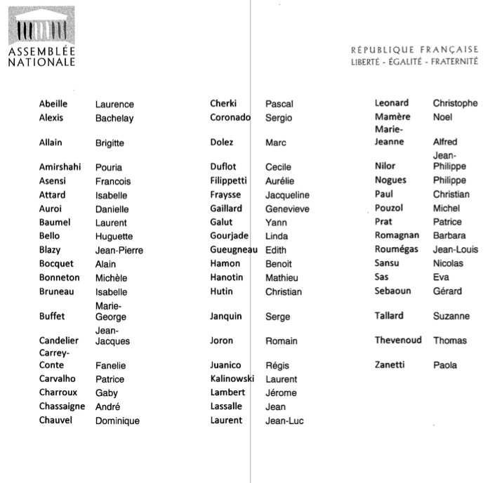 """Voici la liste des 56 signataires de la """"motion de censure virtuelle"""" par @christianpaul58 #LoiTravail https://t.co/KD4gEpoFuE"""