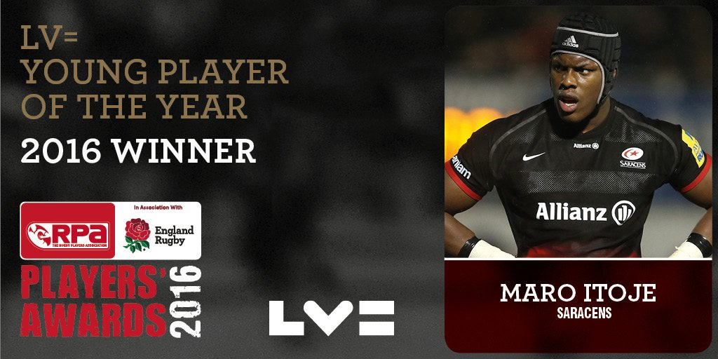SUPER MARO! Our @LVRugby Young Player of the Year is @maroitoje! #RPAAwards16 #ENG https://t.co/6fZXUxVUNG